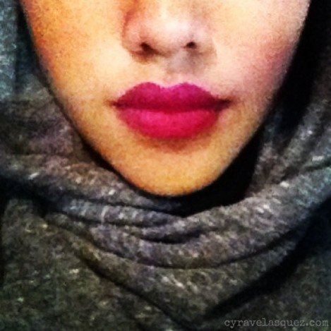 "Cyra Velasquez wearing NYX lipliner pencil in ""Fuchsia""."