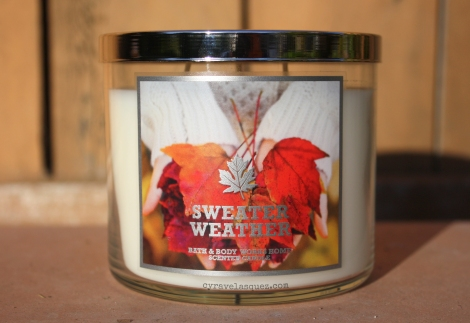 The 3-wick Sweater Weather candle from Bath and Body Works.