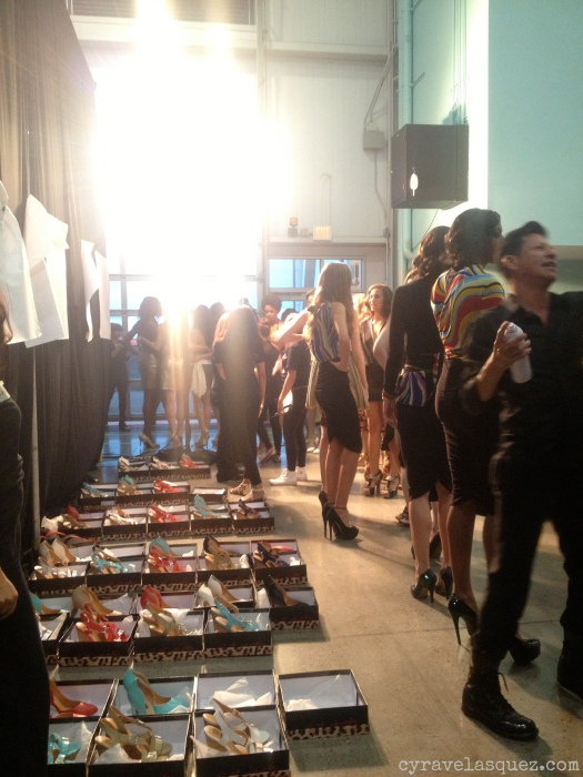 Cyra Velasquez with models backstage at FWSD on Thursday, October 3.