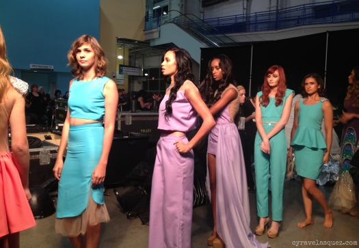 Cyra Velasquez backstage with CG by Cynthia models at FWSD on Thursday, October 3.