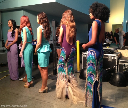 Cyra Velasquez backstage with CG by Cynthia fashion models at FWSD on Thursday, October 3.