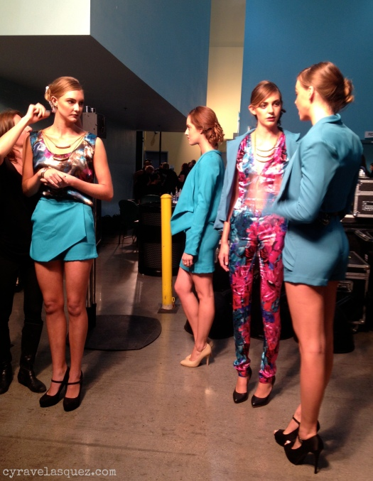Cyra Velasquez backstage with Isabel Vianey fashion models at FWSD on Thursday, October 3.