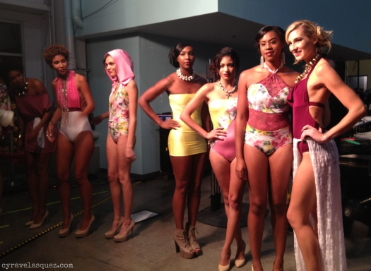 Cyra Velasquez backstage with Mahogany Blues swimwear models at FWSD on Thursday, October 3.