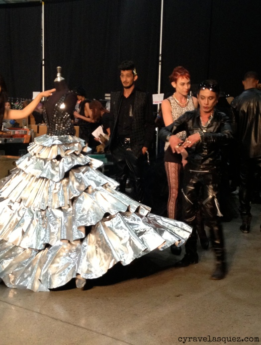 Cyra Velasquez backstage with Styled to Rock designer Andre Soriano at FWSD on Thursday, October 3.