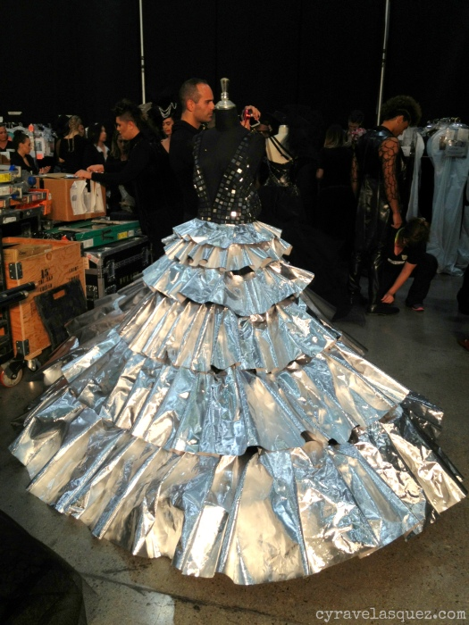 Cyra Velasquez backstage with Styled to Rock designer Andre Soriano's finale dress at FWSD on Thursday, October 3.