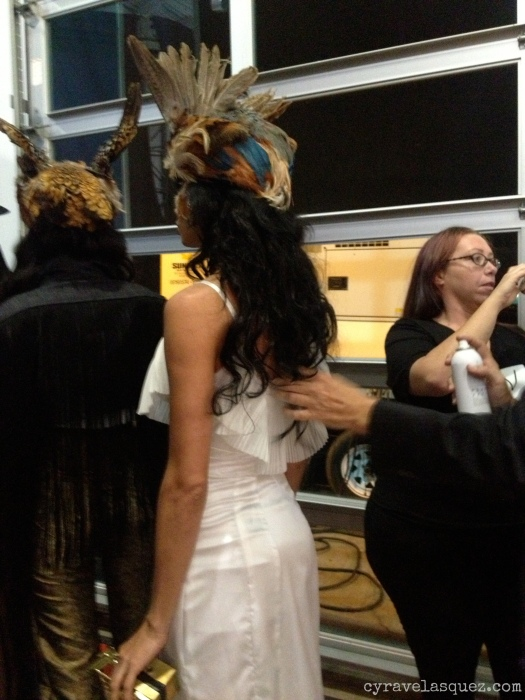 Cyra Velasquez backstage with Styled to Rock's Dexter Simmons fashion designs at FWSD on Thursday, October 3.