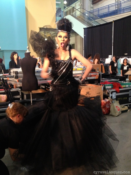 Cyra Velasquez backstage with Styled to Rock's Andre Soriano's fashion design at FWSD on Thursday, October 3.