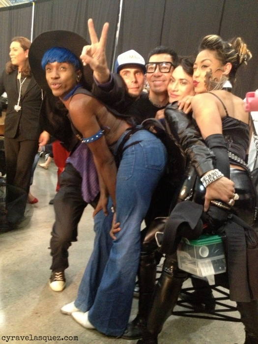 Cyra Velasquez with Styled to Rock designers Dexter Simmons, Cecilia Aragon, and Andre Soriano backstage at FWSD on Thursday, October 3.
