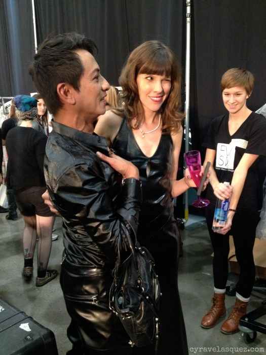 Cyra Velasquez with director Allison Andrews and Styled to Rock designer Andre Soriano at FWSD on Thursday, October 3.