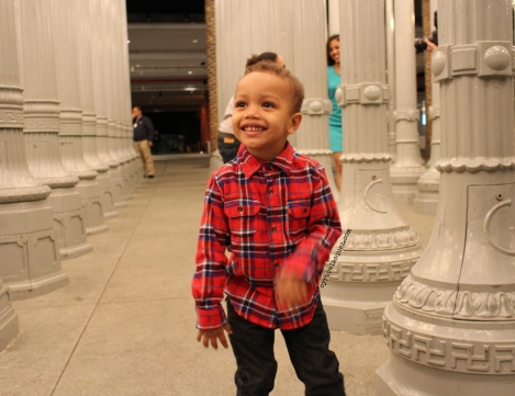 Cyra Velasquez and a cute little boy at the Los Angeles County Museum of Art (LACMA).