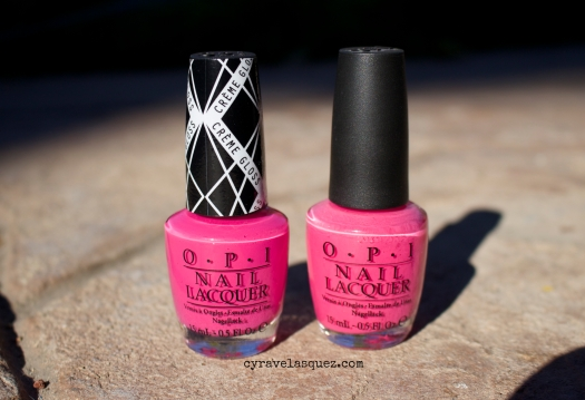 """Hey Baby"" from the Gwen Stefani for OPI nail polish collection compared to OPI's ""Strawberry Margarita."""