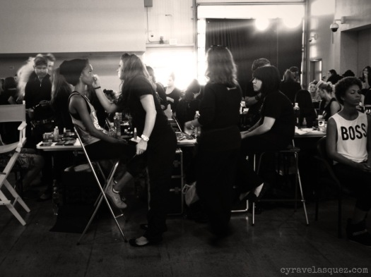 Cyra Velasquez backstage at Fashion Week San Diego (FWSD).