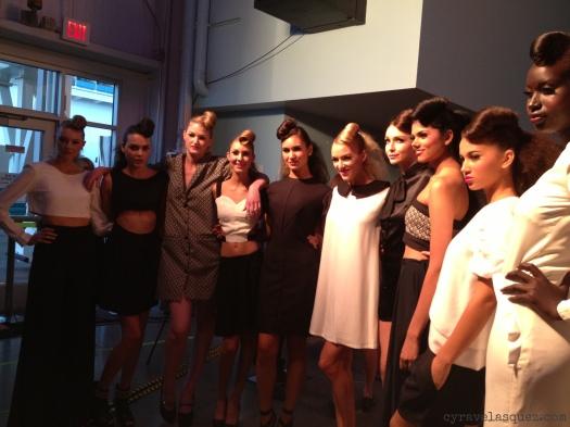 Cyra Velasquez backstage with Diestra models at Fashion Week San Diego (FWSD).