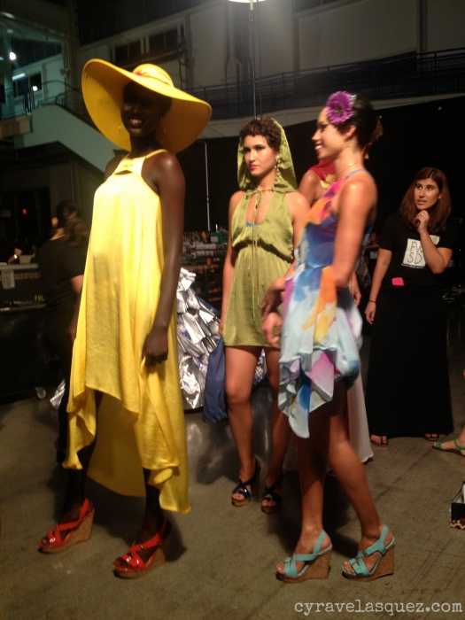 Cyra Velasquez backstage with RHCreation models at Fashion Week San Diego (FWSD).