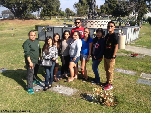 Cyra Velasquez and family at Holy Cross Cemetery in San Diego, California.