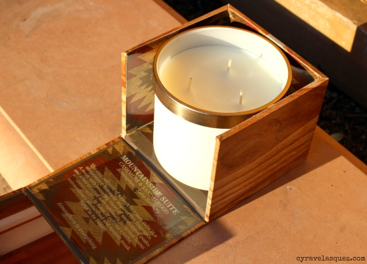 Mountainside Suite cashmere and sandalwood candle from Bath and Body Works Prestige collection.