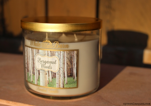 Bergamot Woods candle from Bath and Body Works.