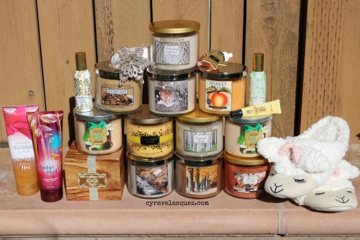 Bath and Body Works candles, slippers, room sprays, lotions, and other products.