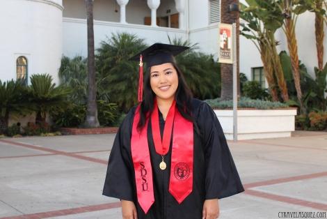 Cyra Velasquez's graduation photoshoot at San Diego State University (SDSU).